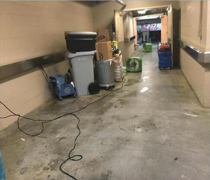 commercial hallway with water damage