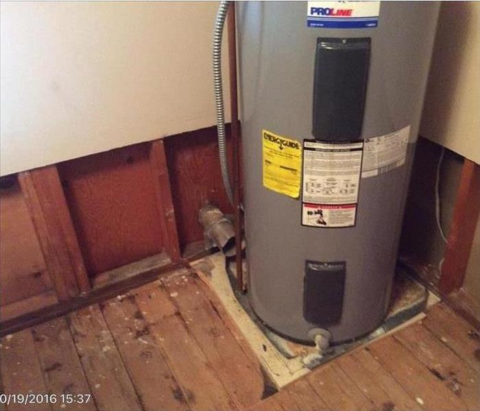 demoed out area around water heater