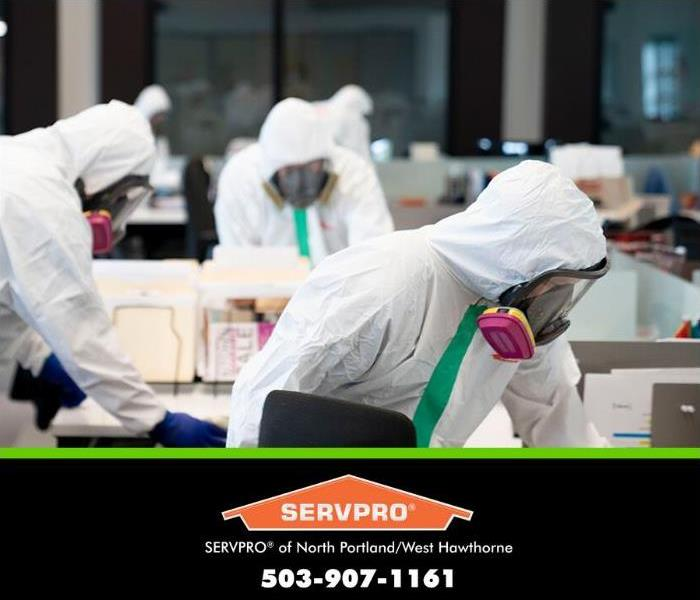 group of SERVPRO technicians cleaning