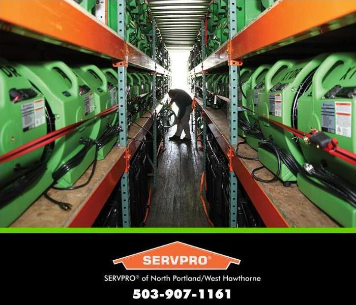 servpro equipment loaded into a trailer